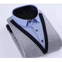 前5分钟半价# 旗顿 加绒加厚假两件男士衬衫 0点 49.5元包邮(99-49.5)