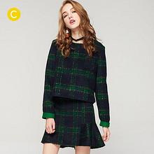双12提前购物车# cachecache 简约时尚格子圆领裙套装 139.9元包邮