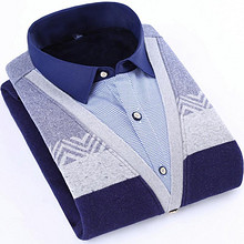 前5分钟# 旗顿 男士假两件保暖长袖衬衫 12点 48元包邮(88-40)