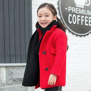 芭菲鹿 儿童纯色保暖针织围巾