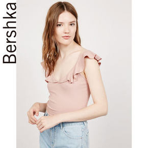 Bershka  夏季女款荷叶边T恤  59元