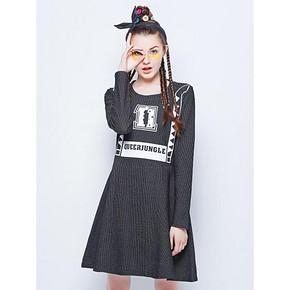 木果果木 个性印花竖条纹针织连衣裙 79元包邮
