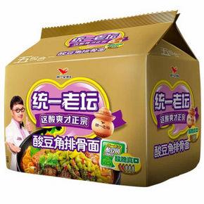 统一 方便面 老坛酸豆角排骨面 五连包 约10元(39.9选4)