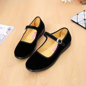 老北京布鞋 平跟单鞋黑色礼仪 8.8元包邮