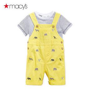 Macy's 男婴T恤动物刺绣背带裤两件套 59元包邮