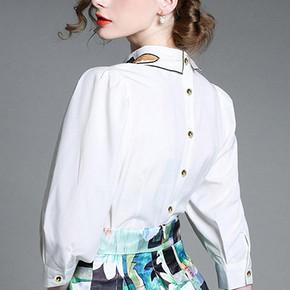 Jossepon 组士邦 女士翻领七分袖刺绣衬衫 48元包邮(148-100券)
