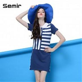 限尺码# Semir 森马 韩版条纹拼接连衣裙 蓝色 18.9元包邮