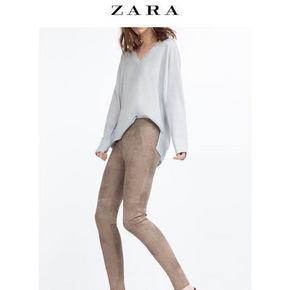 小码福利# ZARA 女士绒面革紧身长裤 59元包邮