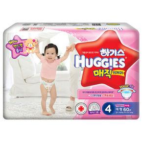 韩国 Huggies 好奇 magic魔术系列 女宝宝纸尿裤 4段60片 89元(79+10)