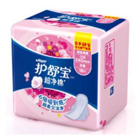 护舒宝 超净棉棉柔丝薄日用卫生巾 16片 折6.9元(13.9,满2减1)