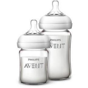 新安怡 新生儿自然顺畅玻璃奶瓶套装240ml+125ml  105元