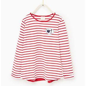 ZARA 补丁装饰条纹儿童T恤 49元包邮