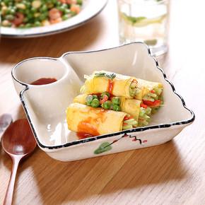 日式和风陶瓷饺子盘 带调料分隔 18元包邮