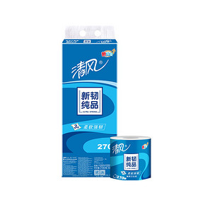 清风 卷纸 新韧纯品 3层270段卫生纸*10卷 14.9元