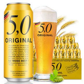 德国进口 5.0 ORIGINAL 自然浑浊型小麦啤酒 500ml*24听 99元包邮