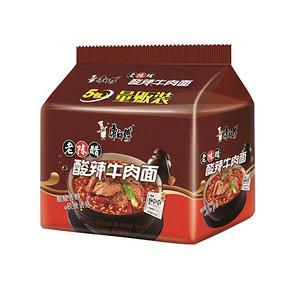 康师傅 方便面  经典系列 酸辣牛肉味 五连包 9.9元
