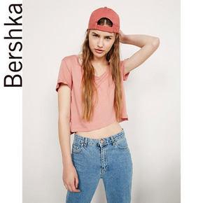 Bershka BSK 女款侧边开叉短款T恤 49元