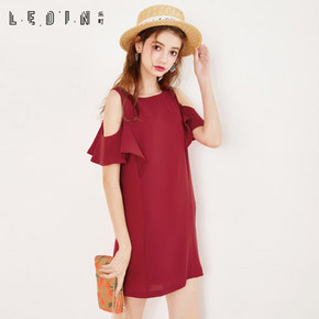 乐町 直筒雪纺长裙 红色 169元包邮