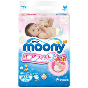 日本 MOONY 尤妮佳 婴儿纸尿裤 M64片 77.9元(69+8.9)
