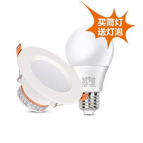 白菜家居# 爱德朗 LED筒灯+灯泡 1.6元包邮(4.9-3)