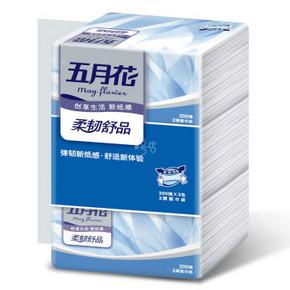 五月花 柔韧舒品系列 2层抽式面纸200抽*3包 5.9元