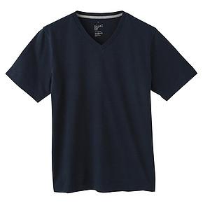 MUJI 无印良品 男式棉V领短袖T恤 39元