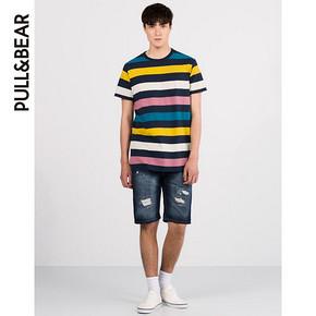 PullAndBear 男士彩色条纹T恤 49元