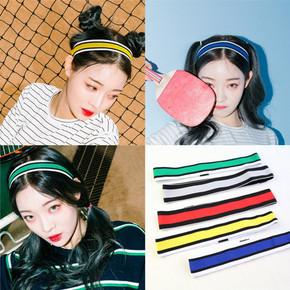 日韩版彩虹条纹运动弹力束发带 4.9元