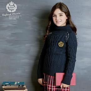 伊顿纪德 英伦女童装高领毛衣套头衫 券后44元包邮