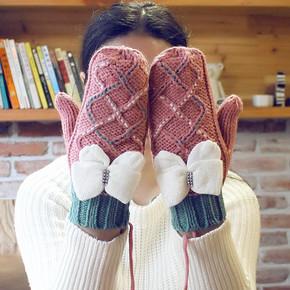 女士韩版针织保暖全指手套 6.9元包邮
