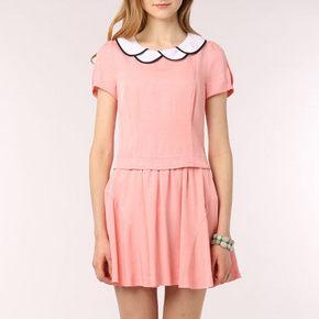 ROEM 罗燕 夏季女装波浪领短袖百褶连衣裙 券后78元包邮