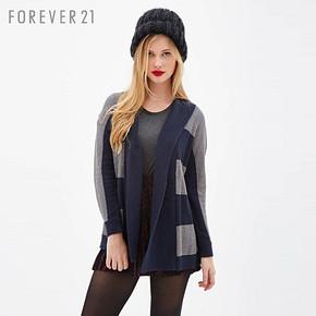 Forever 21 条纹披肩领长袖针织开衫 50元包邮