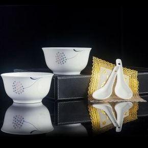 景德镇陶瓷器餐具6件 2碗 2勺 2垫 5.1元包邮