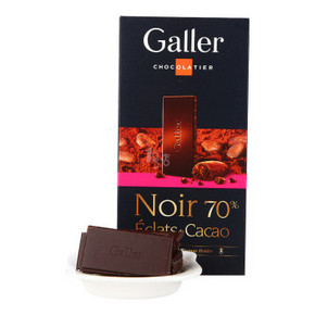 Galler 伽列 排块可可粒黑巧克力 70% 80g 折19.9元(39.9,199-100)