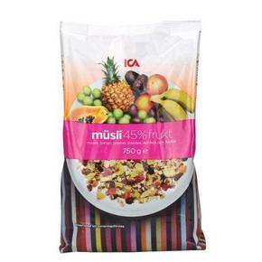 ICA瑞典45%混合水果低糖燕麦片 750g 41元包邮