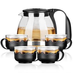 金熊 耐热玻璃泡茶壶五件套 700ml+150ml*4 19.9元