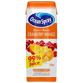 Ocean Spray 优鲜沛 99%蔓越莓芒果复合果汁 250ml 2.8元(1.9+0.9)