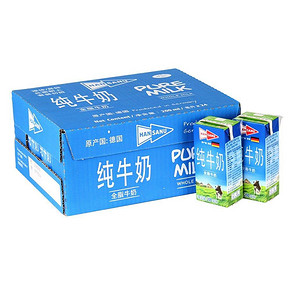 HANSANU 德悠 全脂纯牛奶200ml*24  49元