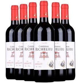 法国红衣主教 黎塞留美乐干红葡萄酒 750ml*6瓶 99元包邮