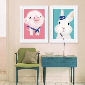 独爱 儿童卡通粉猪兔子十字绣 30*40cm 6.9元包邮(11.9-5券)