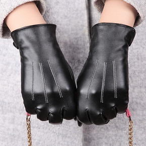 ELMA 女士秋冬季PU加绒皮手套 8.5元包邮