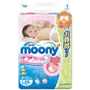 Moony 尤妮佳 婴儿纸尿裤 L68片 99元包邮