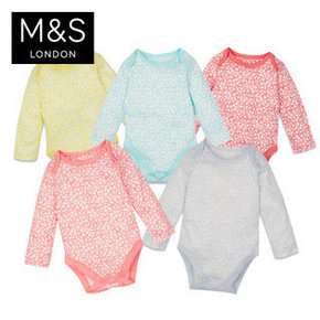 M&S 马莎 婴儿纯棉花朵连体衣 5件装 79元