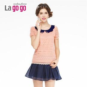 lagogo 拉谷谷 甜美淑女蕾丝娃娃领上衣 29元包邮