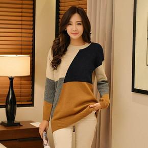 黛米琦 韩版保暖中长款长袖套头拼色毛衣 29元包邮