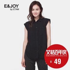 艾格 E&joy 修身显瘦无袖翻领女女士衬衫 49元包邮