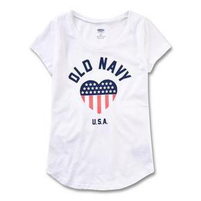 Old Navy 女童徽标印花弧形下摆圆领T恤 29元包邮