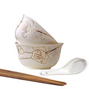 聚景 景德镇骨瓷餐具 两碗两勺两筷子 6件套装 券后5.1元包邮