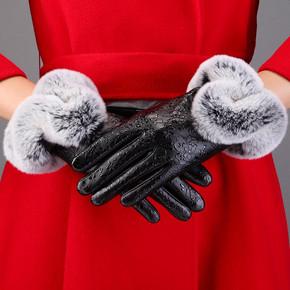 名芳 女士秋冬加厚保暖触屏仿皮手套 拍下7.9元包邮