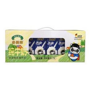 多美鲜 全脂纯牛奶 200ml*12盒 19.9元